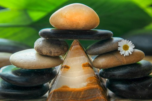 Pyramid, Stones, Light, Flower, Relaxed, Leaves, Green