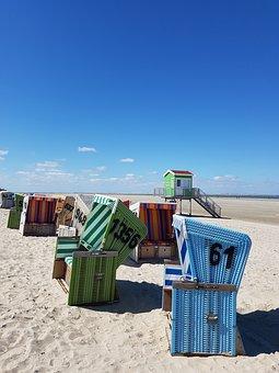 Vacations, Sea, Sand, Blue, North Sea, Langeoog
