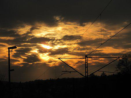 Sunset, Power Poles, Dusk, Evening Sky, Power Lines