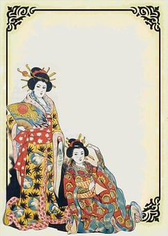Japan, Women, Frame, Ornate, Ladies, Traditional