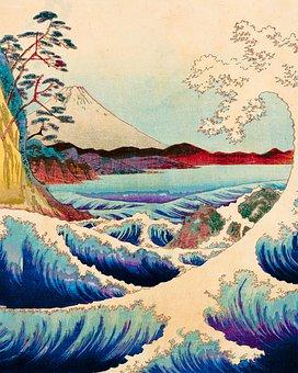 Wave, Japanese, Mount Fuji, Woodblock Print, Ocean
