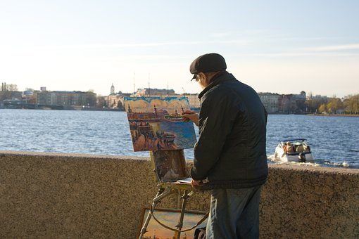 St Petersburg Russia, Peter, Leningrad, Neva, Artist