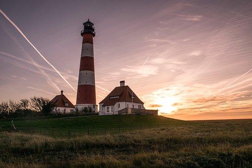 North Sea, Lighthouse, Germany, Coast, Sky, Sea, Beacon