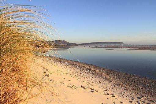 Grass, Sand Dune, Beach, Lagoon, Mountains, Cape Town