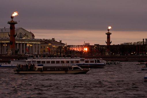 St Petersburg Russia, Peter, Leningrad, Rostral Columns