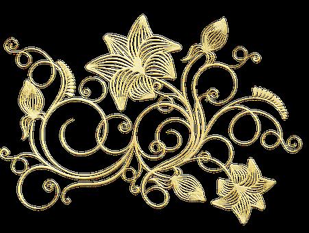 Gold Foil, Flower Line Art, Silhouette, Glitter, Flower