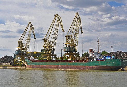 Scrap Loading, Coastal Motor Ship, Port On The Danube