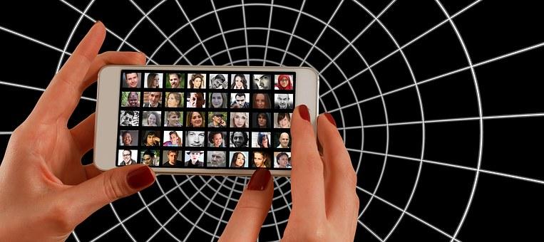 Smartphone, Hand, Photomontage, Faces, Photo Album