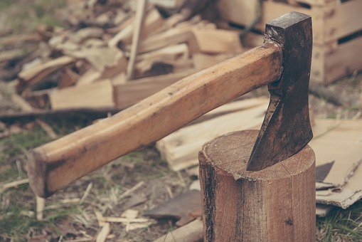 Axe, Wood, Tree, Outdoors, Cut, Tool, Work, Man, Forest