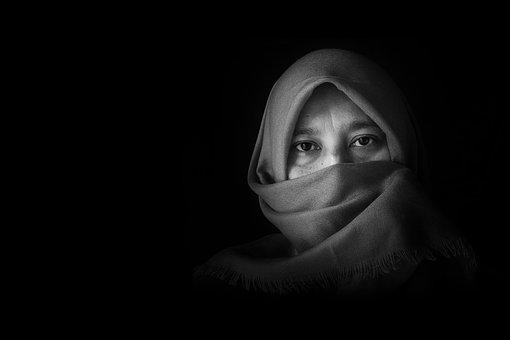 Portrait, Woman, Fashion, Black And White, Arab Style