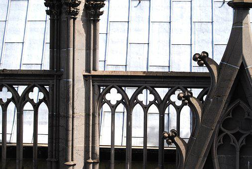 Gothic Arch, Balustrade, Cologne, Dom, Side Window
