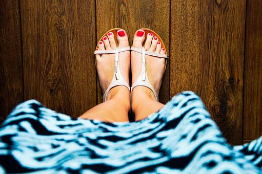 Sandals, Feet, Red Nails, Dress, Floor, Foot, Woman