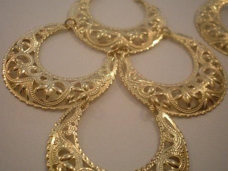 Earrings, Gold, Drape Earrings, Fashion, Glamour