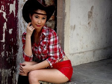 Model, Female, Cowgirl, Oriental, Young, Woman, Girl