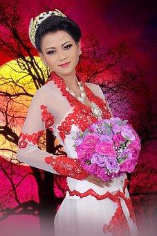 Girl, Asian, Wedding, Woman, Love, Female, Dress, White