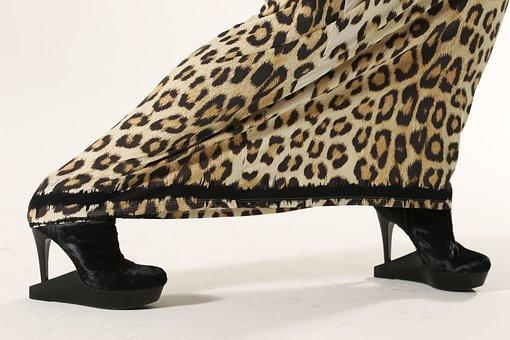 Model, Dress, Animal Print, High Heals, Glamour