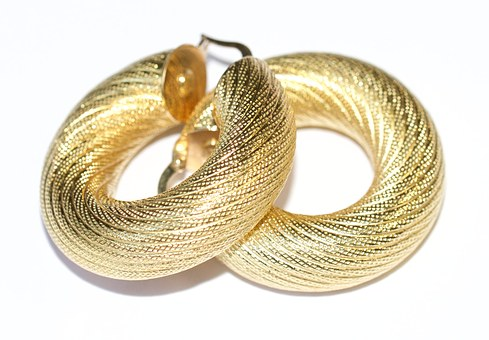Earrings, Gold, Hoops, Texture, Glamour, Jewelry