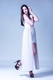 A Girl In A Long Dress, Girl, Woman, Model, Fashion
