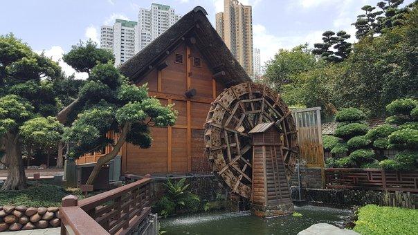 Park, Zen, Japanese, Water Wheel