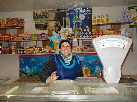 Shop, Trade, Ukraine, Poverty, Soviet Style, The Seller