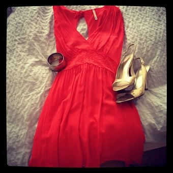 Dress, Red, Fashion, Shoes, Heels, High Heels, Bracelet