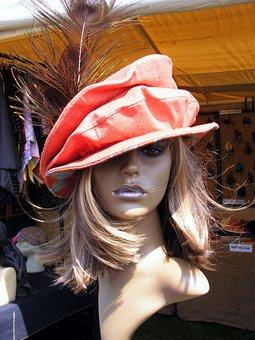 Mannequin, Model, Head, Hat, Feather, Shop