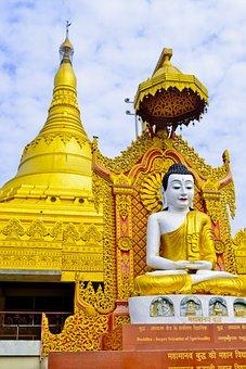 Buddha, Gold, India, Asia, Statue, Golden, Sculpture