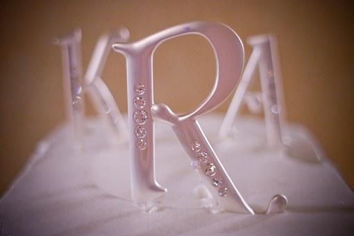 Wedding, Cake, Topper, Top, Initials, Three, Sweet