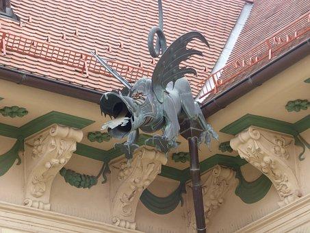 Dragon, Gutter, Sculpture, Decorating, Tourism, Tour