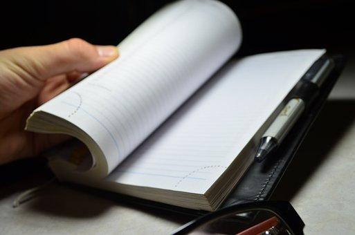 Notebook, Pen, Hand, Diary, Office, Businessman, Work