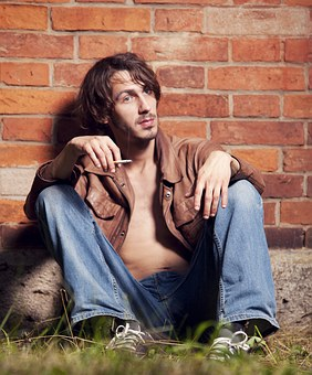 Man, Young, Smoking, Thinking, Fashion, Leather Jacket
