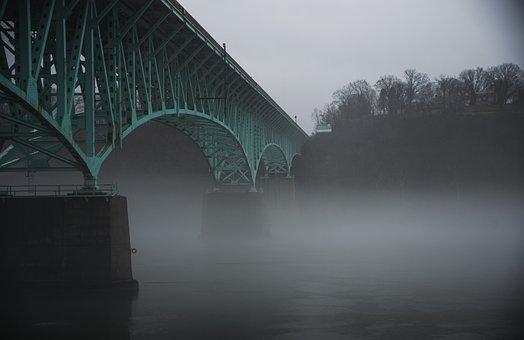 Bridge, Foggy, Fog, River, Riverbank, Dreary, Cloudy