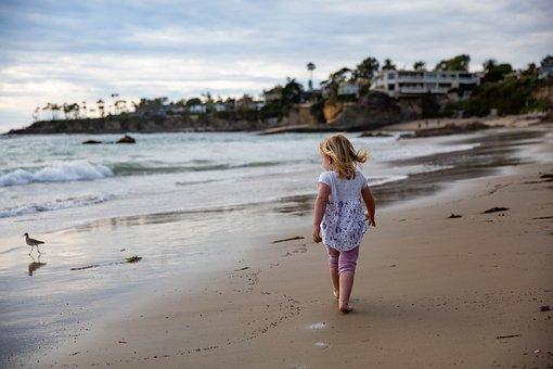 Child, Girl, Sand, Pacific, Beach, Sea, Ocean, Water