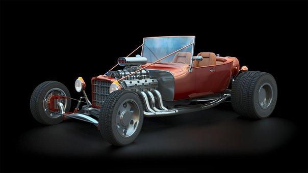 Hot Rod, 3Ds Max, Cgi, 3D, Car