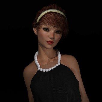 Girl, Necklace, 3d, Lips, Woman, Portrait, Fashion