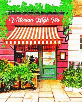 Watercolor Tea Shop, London, High Tea, Victorian, Tea