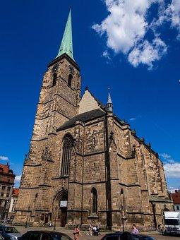 Architecture, Cathedral, Bartholomew, Pilsen, Square