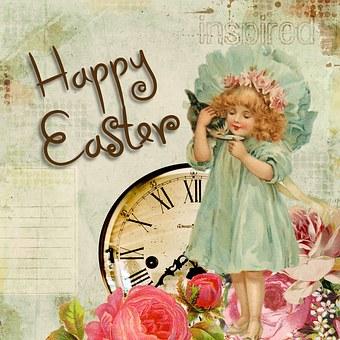 Easter, Greeting Card, Vintage, Little Girl, Roses