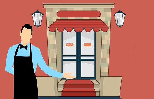 Cafe, Restaurant, Shop, Waiter, Owner, Man, Welcome