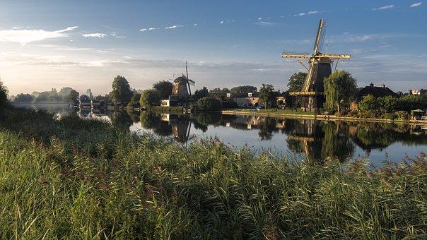Windmills, Water, Weesp, Reed, Holland
