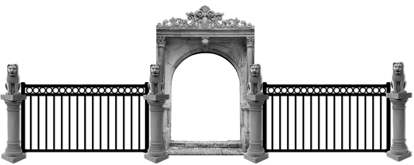 Gate, Fence, Entrance, Entry, Arch, Columns, Capitals
