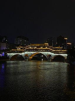 Chengdu, Bridge, Architecture, Water, Dark, Night