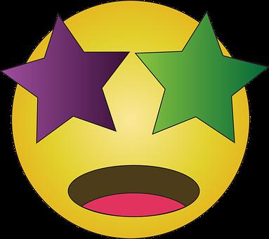 Starry Eyed, Emoji, Emoticon, Emotion, Stars In Eyes