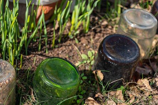Bottles, Fencing, Flower Bed, Spring