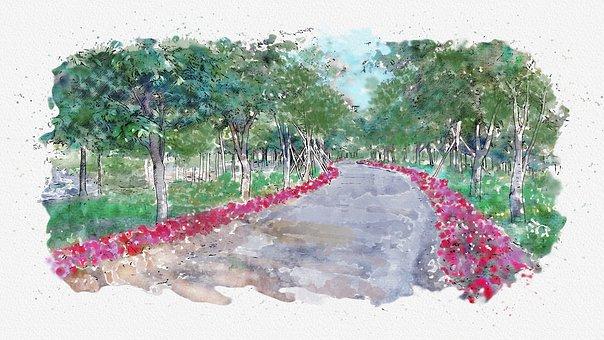 Watercolor, Flower Road, Esplanade, Forest Road, Garden