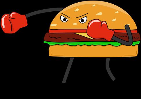 Hamburger, Boxer, Gloves, Buns, Cheese, Patty, Boxing