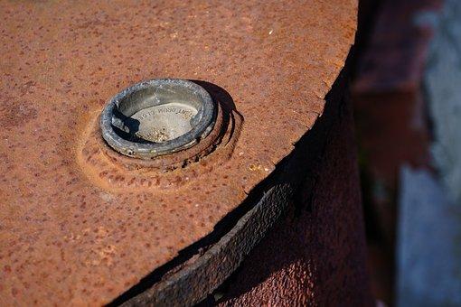 Barrel, Old, Rusty, Metal, Rust, Spring