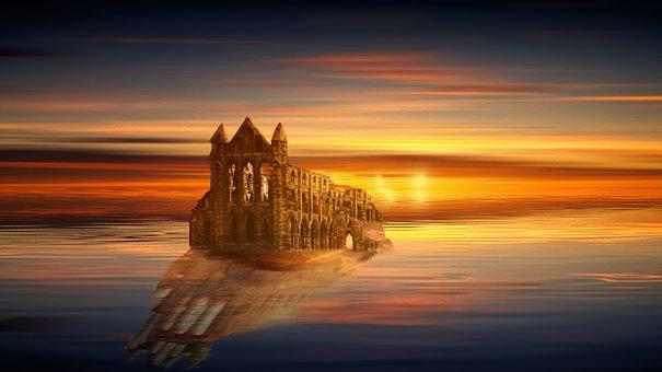 Sunset, Ruin, Castle, Sea, Ocean, Sky, Fantasy