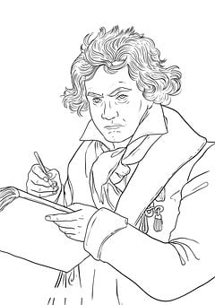 Beethoven, Drawing, Bust, Music, Composer, Face, Person