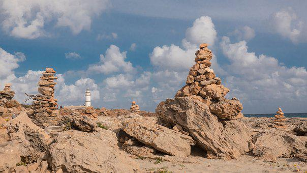 Stones, Beach, Mallorca, Island, Tower, Lighthouse